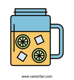 beverage with ice cubes and lemon in jar line and fill style icon
