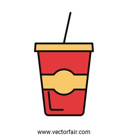 beverage in plastic pot and straw drink line and fill icon