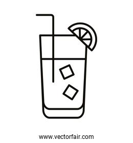 cocktail with ice and lemon drink beverage line icon