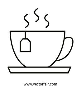 tea cup hot beverage line style icon