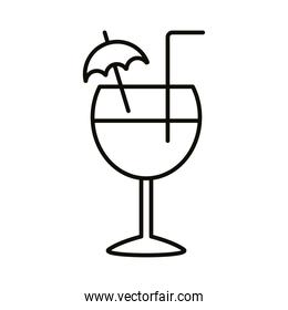 cocktail cup with umbrella drink beverage line icon
