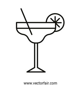 cocktail cup with straw and lemon drink beverage line icon