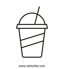 beverage in plastic pot and straw drink line style