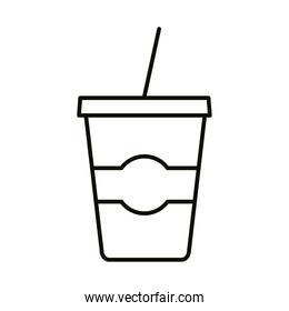 beverage in plastic pot and straw drink line icon