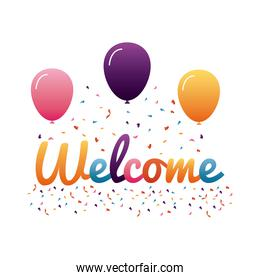 welcome label lettering with colors letters and balloons helium