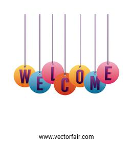 welcome label lettering with letters hanging