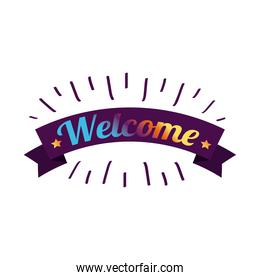 welcome label lettering with colors letters
