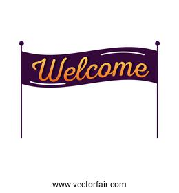 welcome label lettering in banner