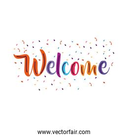 welcome label lettering with set colors letters