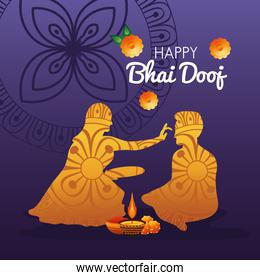 happy bhai dooj celebration with brother and sister golden silhouette