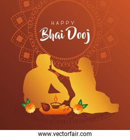 happy bhai dooj celebration card with brother and sister silhouette