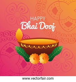 happy bhai dooj celebration card with candle and flowers in wooden dish