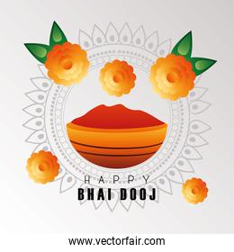 happy bhai dooj celebration card with red paint and flowers