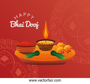 happy bhai dooj celebration red card with candle and food
