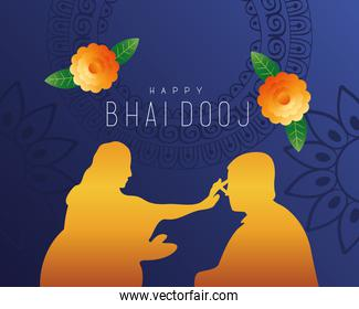 happy bhai dooj card with brother and sister golden silhouette
