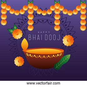 happy bhai dooj celebration card with candle and flowers hanging