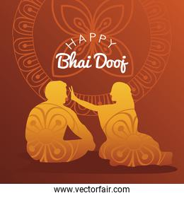happy bhai dooj banner with brother and sister golden silhouette