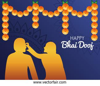 happy bhai dooj celebration poster with brother and sister golden silhouette
