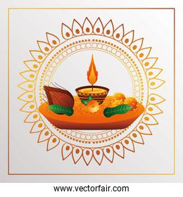 happy bhai dooj celebration card with candle and food in   mandala golden