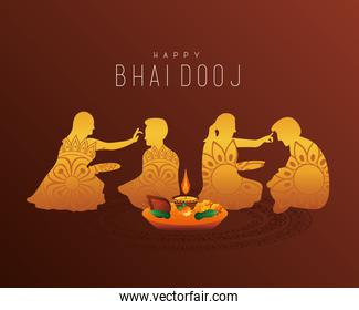 happy bhai dooj celebration card with brothers and sisters golden silhouettes