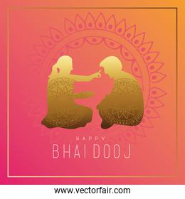 happy bhai dooj celebration card with brother and sister golden silhouette