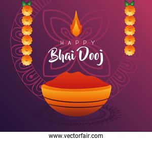 happy bhai dooj celebration card with red paint and flowers hanging