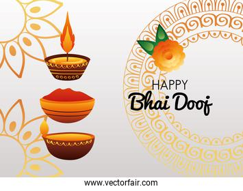 happy bhai dooj celebration card with candles and red paint