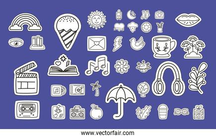 bundle of stickers  icons in blue background