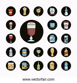 collection of twenty two beverages set icons