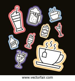 bundle of nine beverages stickers and set icons