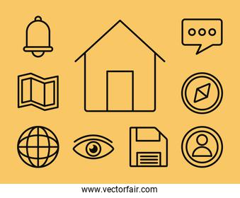 house with interface line style icon