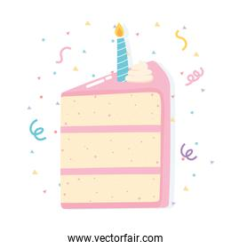 happy birthday slice cake with candle and confetti
