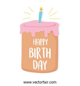 happy birthday handwritten lettering in cake with candle celebration cartoon