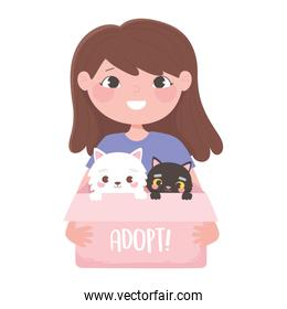 girl with cat in the cardboard box, adopt a pet