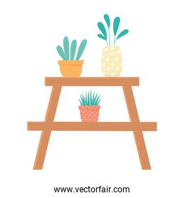 home gardening, shelf with plant and flowers in pot decoration