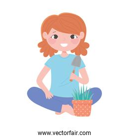 home gardening, girl with shovel and plant in pot