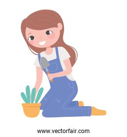 home gardening, girl planting in the pot