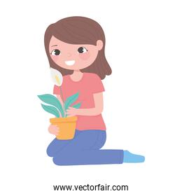 home gardening, girl with flower in pot decoration