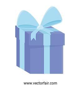 blue wrapped gift box with bow surprise icon