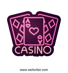 casino, poker cards aces gambling neon sign