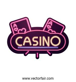 casino, bright banner aces gambling neon sign
