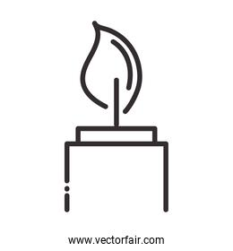 burning candle flame element line icon style
