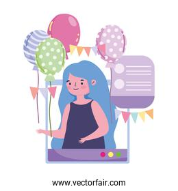 online party, girl with balloons website internet meeting celebration