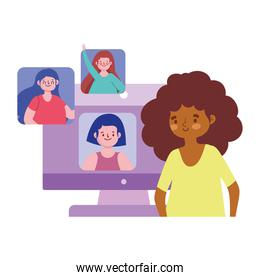 online party, woman with people connected by internet celebration