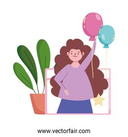 online party, happy woman with balloons in website meeting celebration