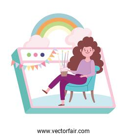 online party, happy girl sitting with cupcake in website celebration