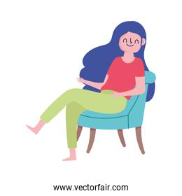 happy girl sitting on chair isolated white background