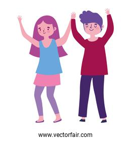 young man and woman celebrating cartoon isolated white background