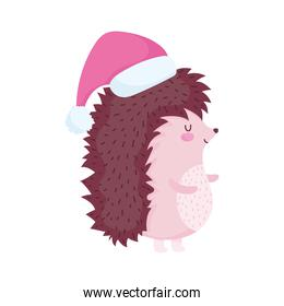 merry christmas, cute hedgehog with hat cartoon celebration icon isolation