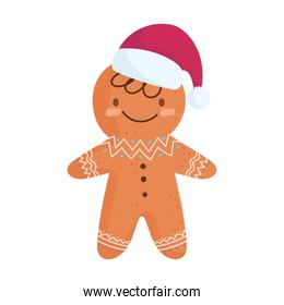 merry christmas, gingerbread man with hat celebration icon isolation